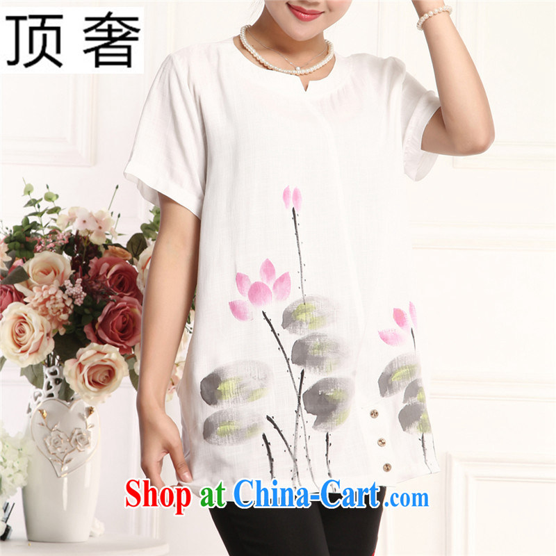 Top Luxury MOM load the older Chinese short-sleeve T-shirt loose version of national costumes female T shirt with loose version half sleeve, long, solid T-shirt white short-sleeved female white XL