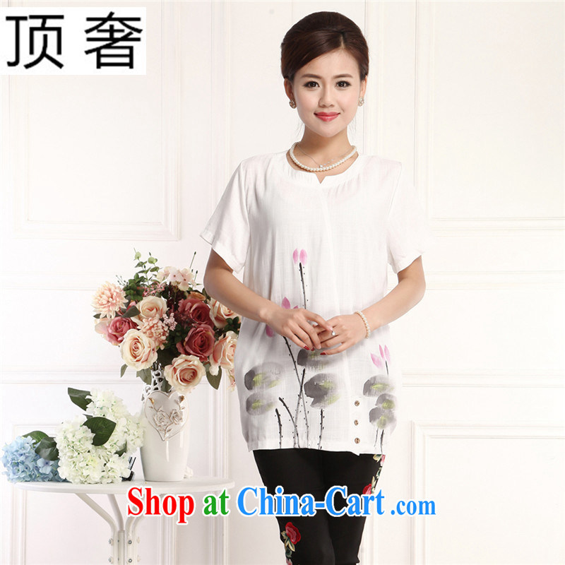 Top Luxury 2015 China wind, Ms. Tang is a short-sleeved shirt T green the Board relaxed and indeed increase the cotton round neck T-shirt Chinese blouses MOM replace white XXXL