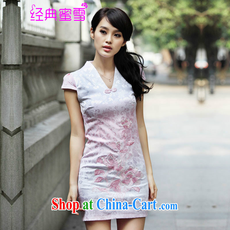 Classic honey snow 20152015 new, retro-day cheongsam dress spring lace improved stylish blue XL
