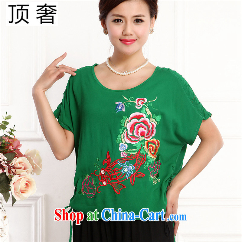 Top Luxury 2105 new, Ms. Tang is set short-sleeve China wind round-collar embroidery half sleeve shirt T red loose version T-shirt black 7 pants mom with green, package 4 XL