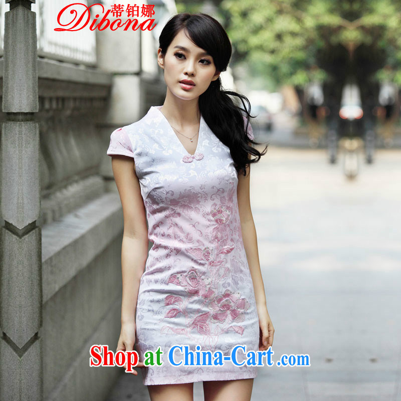 Mr. Platinum 20152015, new, retro-day cheongsam dress spring lace improved stylish blue XL