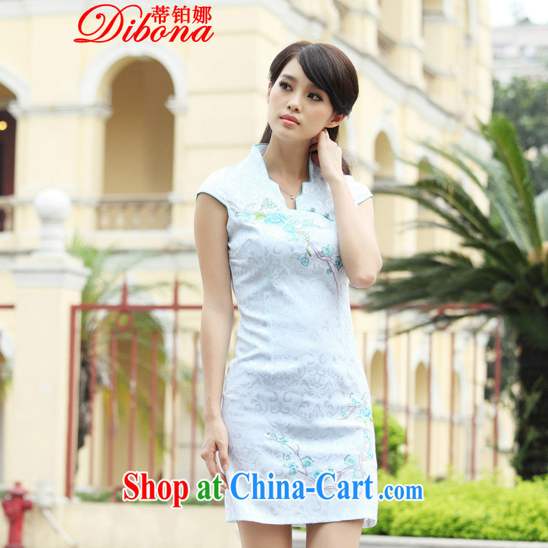 Mr. Platinum's 2015 cheongsam dress summer summer new stylish short retro stamp beauty dresses, blue XL