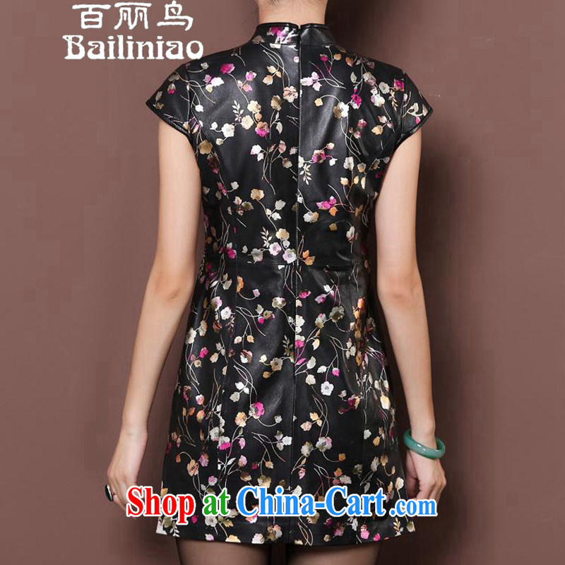 100 birds, spring and autumn 2015 new imported fur elegant style evening gown half sleeve uniform toast Haining leather retro improved cheongsam dresses everyday floral XXXL, 100 Lai-bird (bailiniao), shopping on the Internet