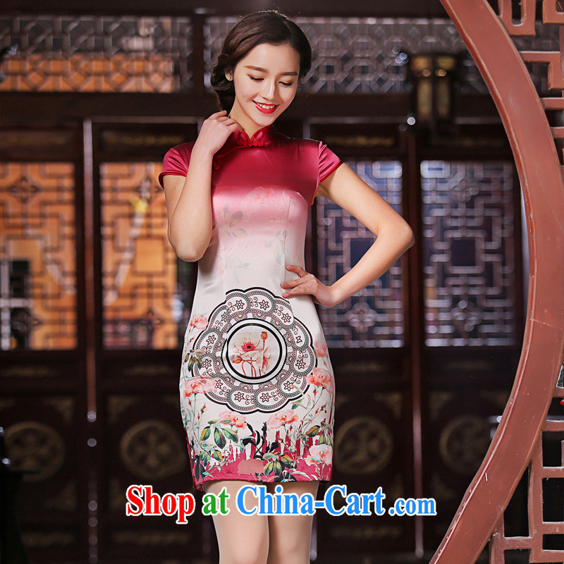 The cross-sectoral sporting her new heavy Silk Cheongsam summer retro stamp fashion cheongsam dress female SZ S 2228 red L