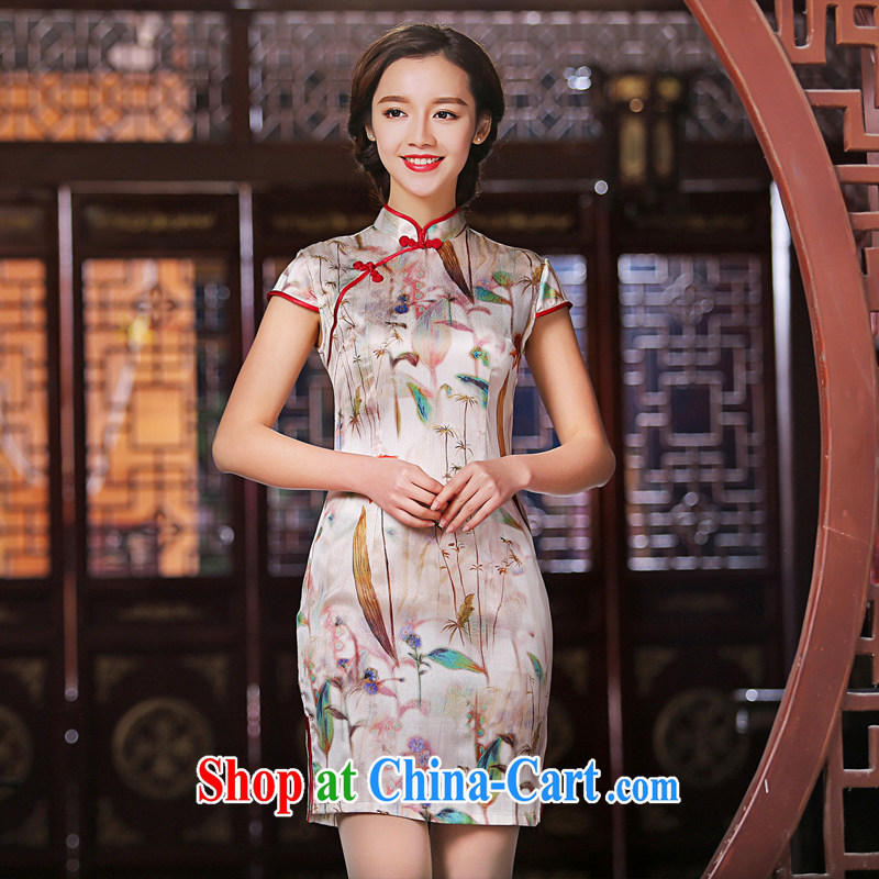The cross-sectoral, Elizabeth KWAN new heavy Silk Cheongsam high summer Ethnic Wind dos santos improved Silk Cheongsam dress SZ S 2225 3XL