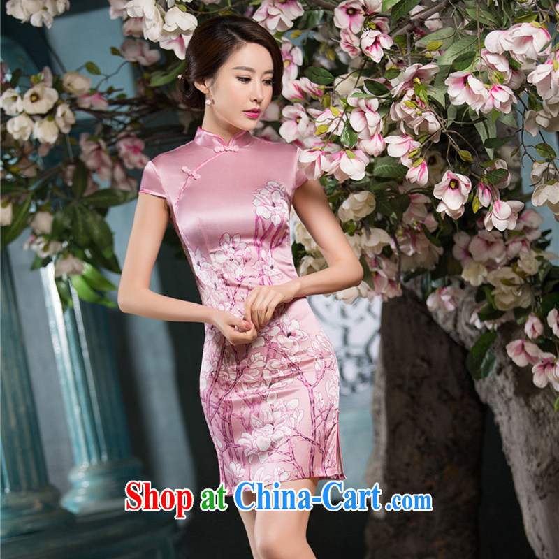 The cross-sectoral interviews Elizabeth toner 2015 new sauna Silk Cheongsam summer daily improved stylish lb Silk Cheongsam dress female SZ S M 2223
