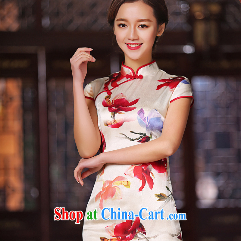 The cross-sectoral complaints she made new heavy Silk Cheongsam day summer improved short-sleeve, style cheongsam dress female SZ S 2222 3XL