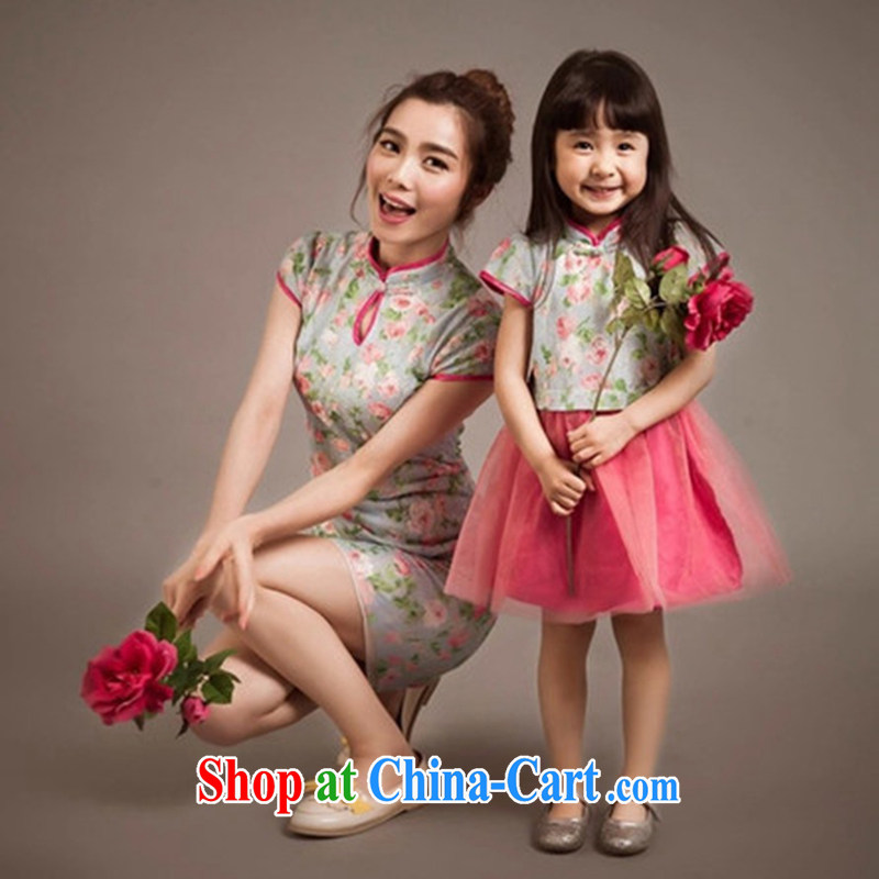 2015 parent-child the Summer new stylish ethnic wind lace dresses mother and daughter dress Kit skirt picture color mom S
