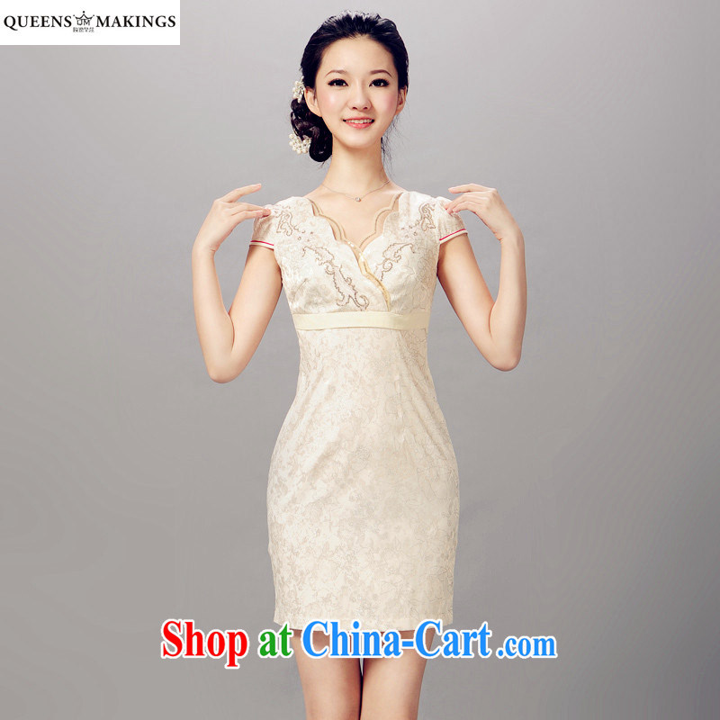 QueensMakings 2015 new Chinese Dress cultivating improved short cheongsam dress dresses 15 QM 082 beige XXL