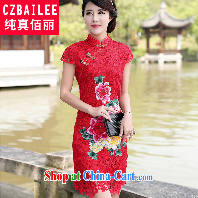 Jin Bai Lai dresses summer improved short-sleeve embroidery dresses red lace retro dress package and dress uniform toast M