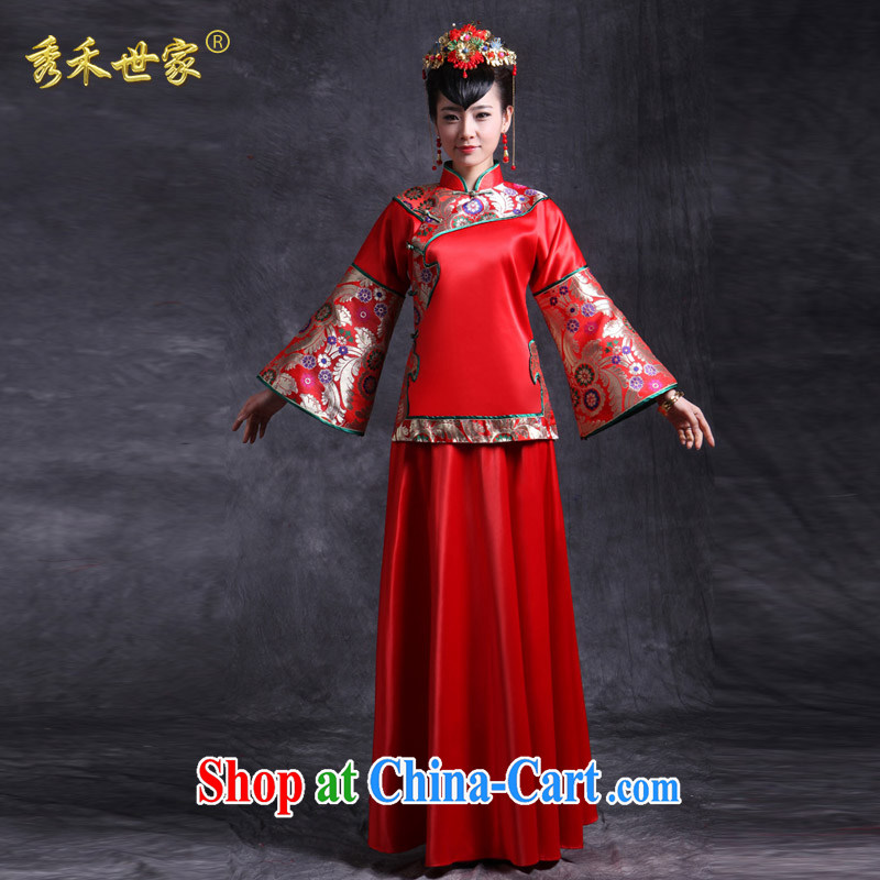 Su-wo family-su Wo service new Sau Wo service bridal gown Chinese marriage red bows clothing and retro dresses kimono Dragon also married Yi red XS No.