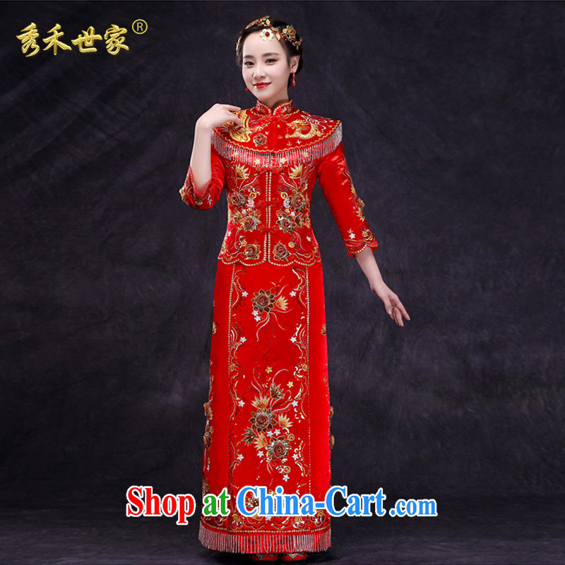 Su-wo family show reel service bridal gown Chinese wedding dress 2015 New Red bows married Yi retro dresses show kimono red XL No.