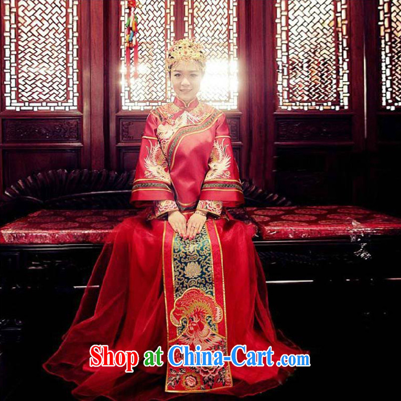 Su-wo family show reel service bridal gown Chinese wedding dress red bows married Yi retro dresses 2015 New Sau kimono red S No.