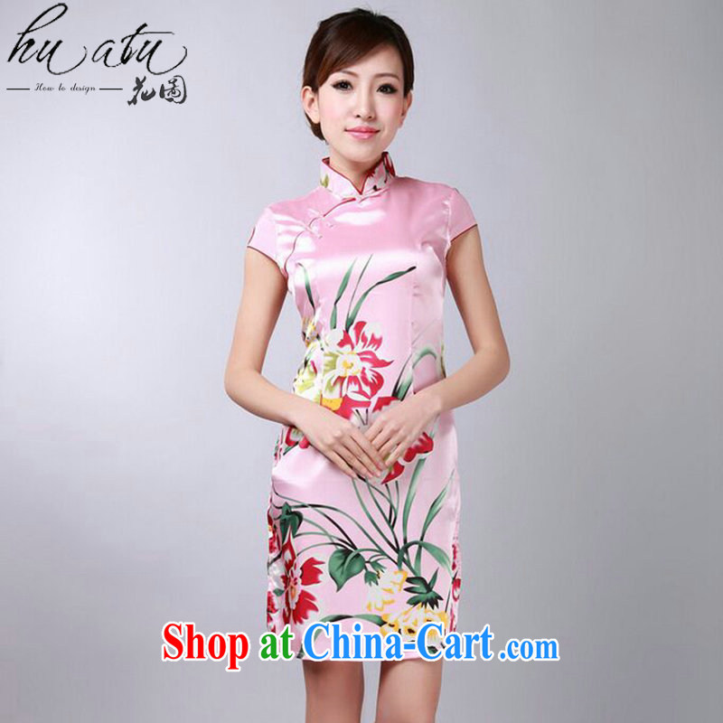 spend the summer new cheongsam Chinese improved Chinese qipao, for damask stamp retro mini short cheongsam - B pink 2 XL