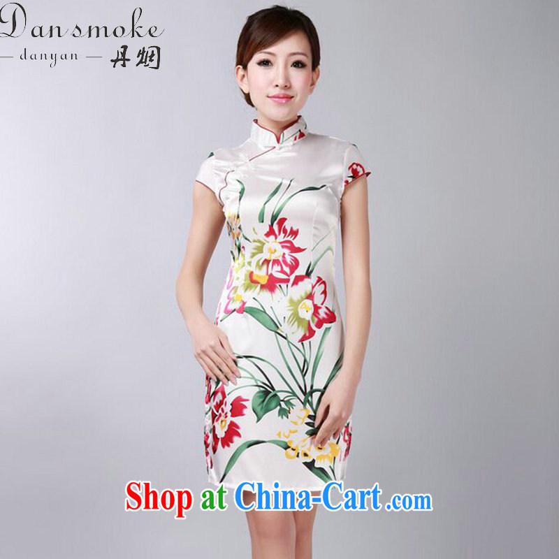 Dan smoke summer new cheongsam Chinese improved Chinese qipao, for damask stamp retro mini short cheongsam white 2XL