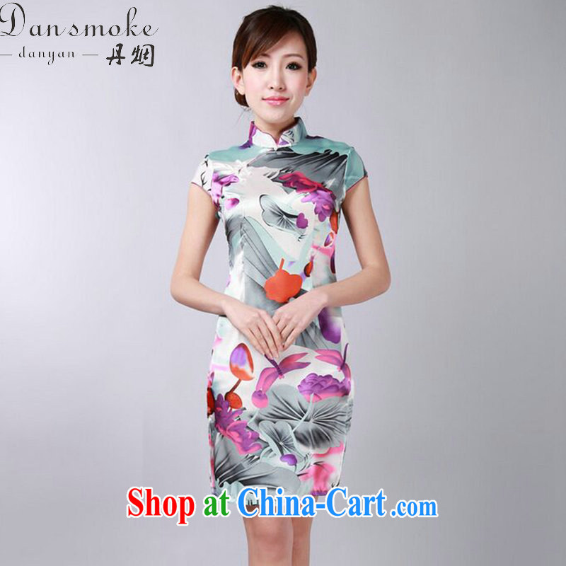 Dan smoke dresses summer new women with Chinese Chinese qipao improvement for the stamp mini short dresses such as the color 2 XL