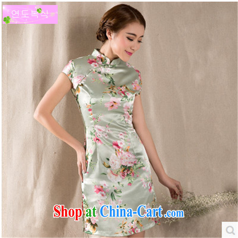 The unit 2015 China wind summer New Tray Charge-back stamp arts and cultural Ethnic Wind improved antique cheongsam dress suit XL