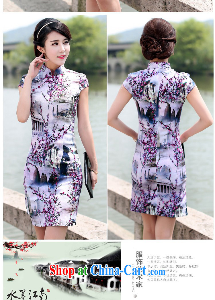 Jin Bai, summer 2015 new cheongsam dress graphics thin beauty cotton the package and retro dress stamp duty cotton Ma Tang with short-sleeved dresses 4 XL pictures, price, brand platters! Elections are good character, the national distribution, so why buy now enjoy more preferential! Health