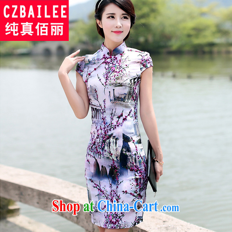 Jin Bai, summer 2015 new cheongsam dress graphics thin cotton cultivating the package and retro dress stamp duty cotton Ma Tang with short-sleeved dresses 4 XL