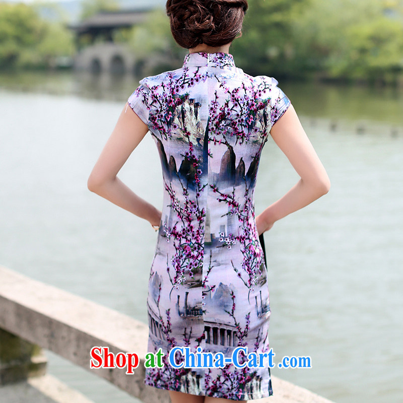 Jin Bai, summer 2015 new cheongsam dress graphics thin beauty cotton the package and retro dress stamp duty cotton the Chinese short-sleeved dresses 4 XL idealistically Bai Lai (C . Z . BAILEE), online shopping