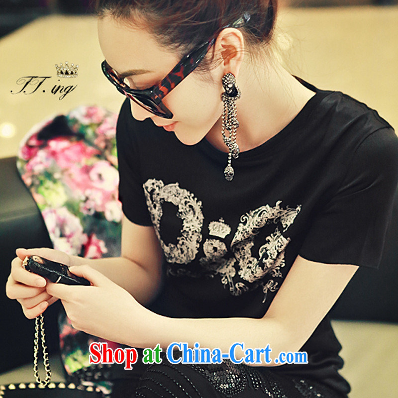 The European site female kaki Su-Ching-ching with stylish 100 ground English letters Satin stamp round-collar short-sleeve shirt T black L