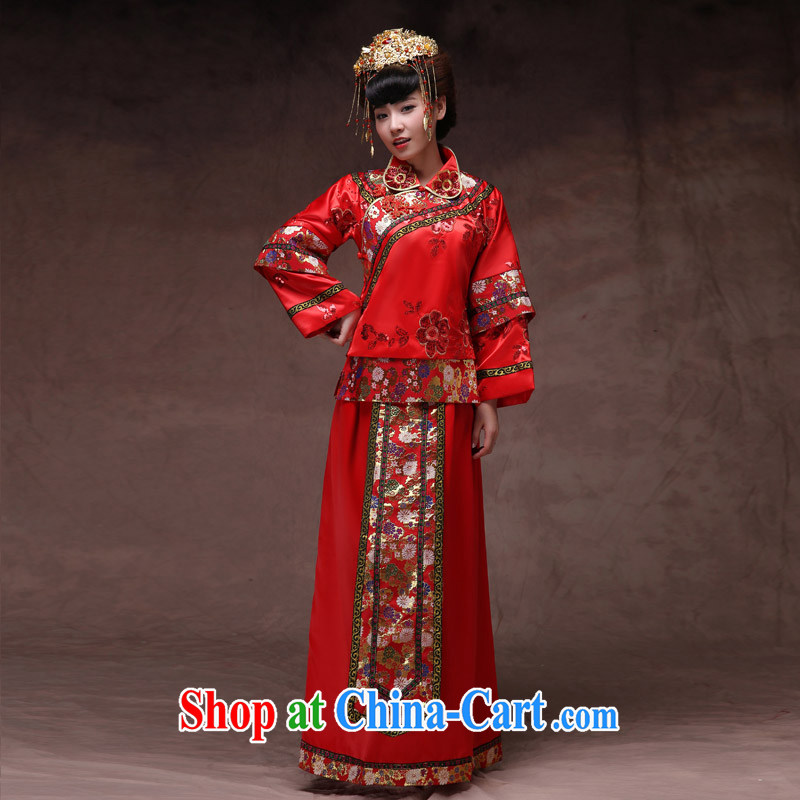 Cyd Ho Sau-wo family-su Wo service bridal gown red Chinese Antique serving toast wedding dresses show kimono Dragon use pregnant women can wear red XL No.