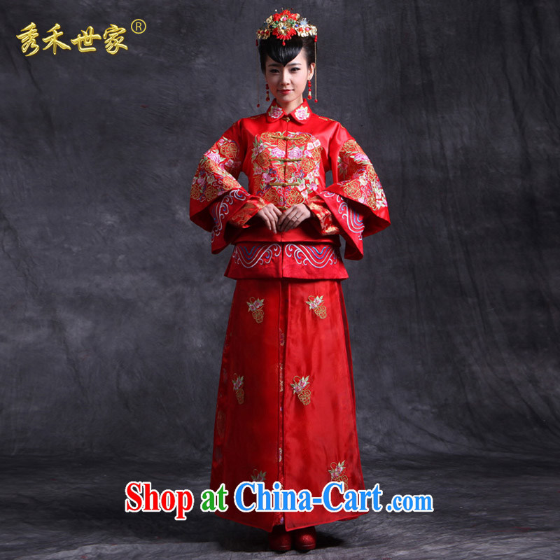 Su-wo family-soo Wo service bridal gown red Chinese Antique toast clothing spring married Yi wedding dresses show kimono Dragon use large red XL No.