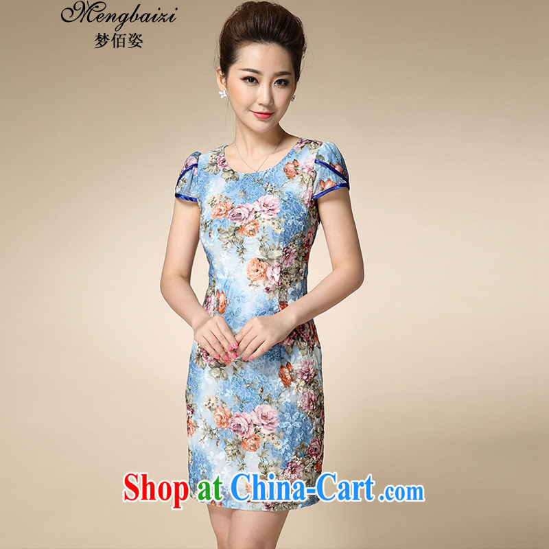 Let Bai colorful 2015 spring and summer new retro short-sleeved improved fashion cheongsam dress female QP 608 #blue XXXL