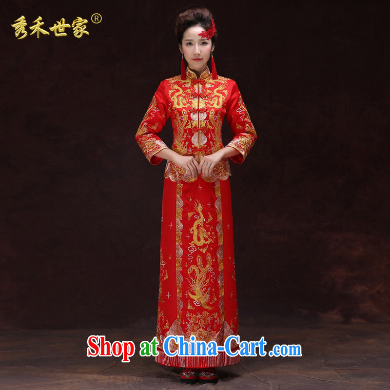 Su-wo family-su WO Service Bridal Phoenix use marriage dress qipao toast clothing red long Chinese Antique woman pregnant women dress wedding summer red XS No.