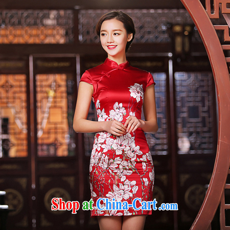 The Yee-sa the new sauna Silk Cheongsam dress retro fashion daily heavy Silk Cheongsam dress improved female SZ S M 2220