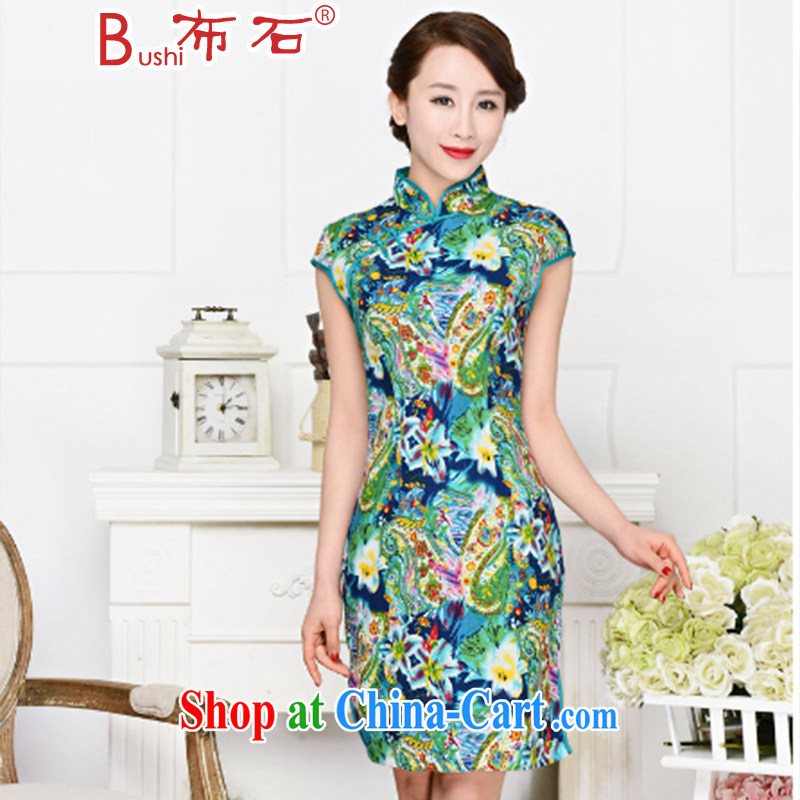 The stone new Ethnic Wind elegant low the forklift truck serving toast improved cheongsam dress summer T-shirt dresses female Green package for green floral XXL