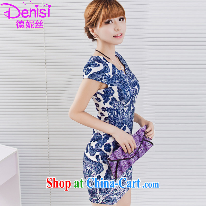 Connie, population 2015 summer milk, stamp pack and dress sense of the waist wavy edge for retro dresses 9620 blue and white porcelain 1 XXXL