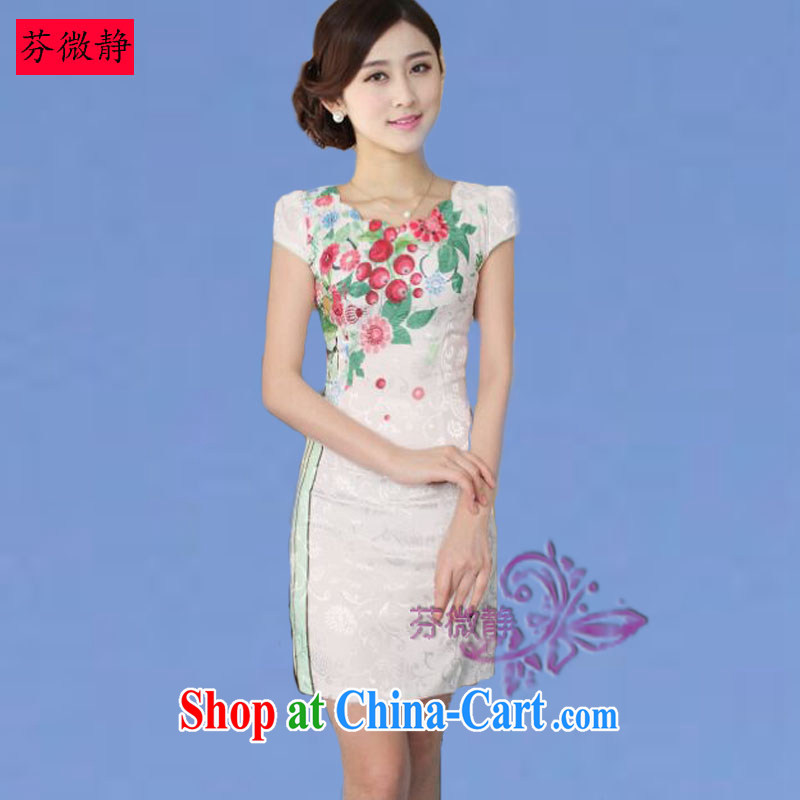2015 spring and summer new cheongsam dress Stylish retro improved cheongsam dress everyday Chinese Dress cherry blossom green XXL