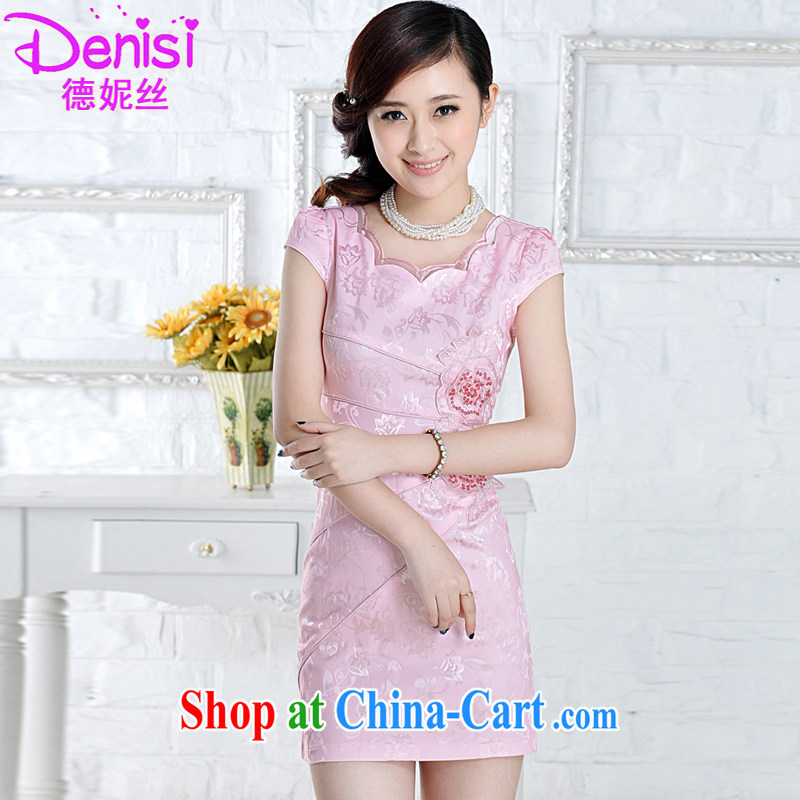 Connie, population 2015 summer new, improved cheongsam stylish embroidered clothes video waist dresses summer dresses pink M small a code