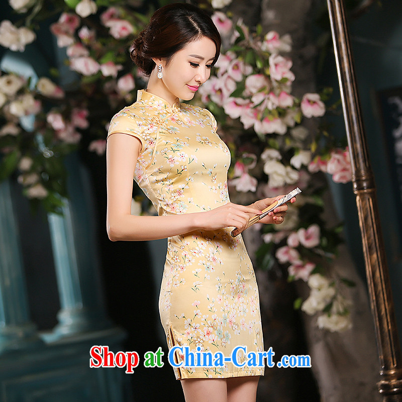 Love spell Fort summer 2015 new, improved stylish dresses daily silk sauna silk upscale retro summer skirt outfit yellow S _78 _64 _84 _