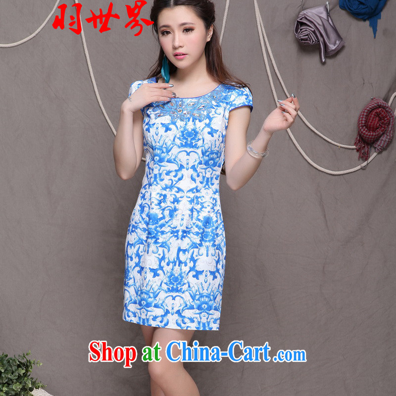 Badminton World Ethnic Wind stylish Chinese qipao dress retro beauty graphics thin cheongsam VA R 033 9901 blue XXL