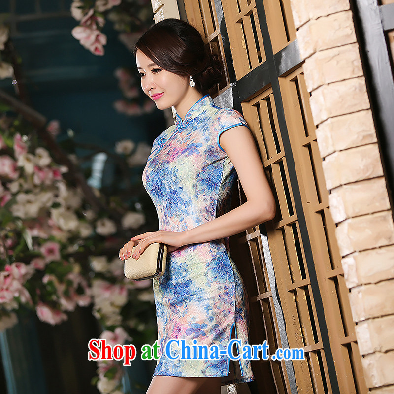 2015 spring/summer short linen dresses, summer short-sleeve improved Ethnic Wind fancy lace daily outfit skirt light blue S (78 /64 / 84)