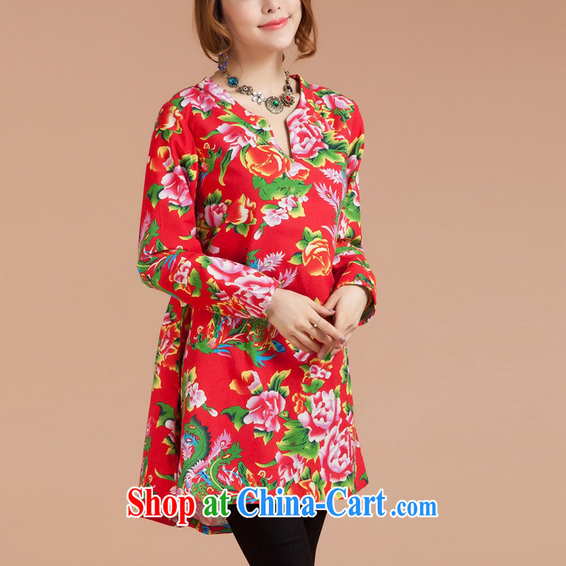 Brown jeep _BROWNGE_ New National wind embroidered dresses China wind Chinese embroidered skirt and skirt wearing two red are code