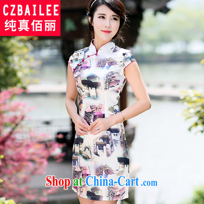 Jin Bai Lai 2015 cheongsam dress summer improved short-sleeve classic Tang Women's clothes dresses high-end stamp retro large code new 4XL