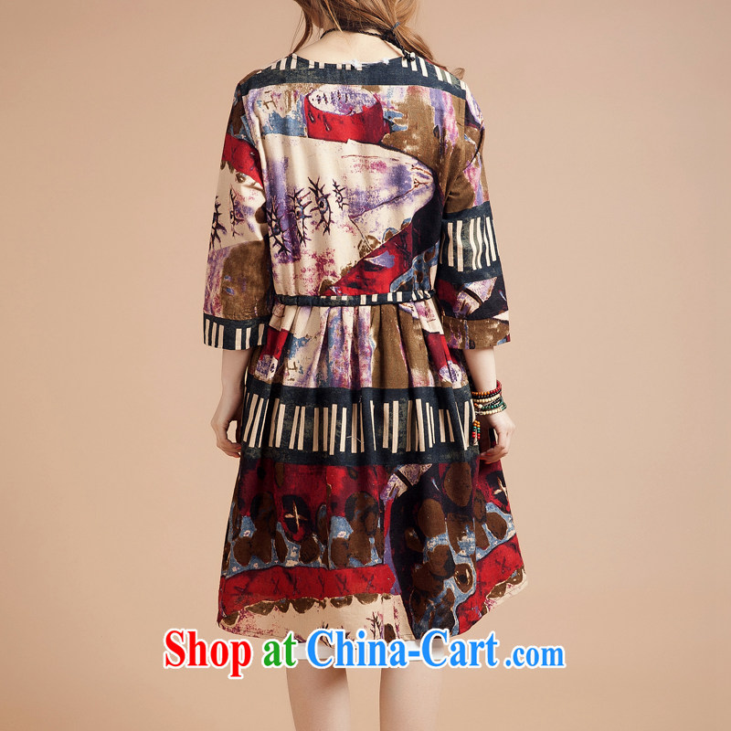 Brown jeep _BROWNGEPU_ New Style retro arts and cultural ethnic Chinese wind round-collar dresses girls skirts red coffee color code