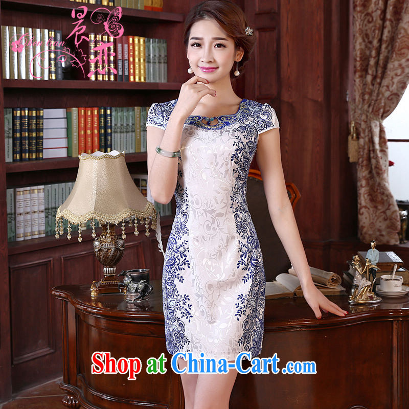 Morning love 2015 summer new improved stylish retro short cheongsam U collar dresses day dresses Blue Land blue XXL