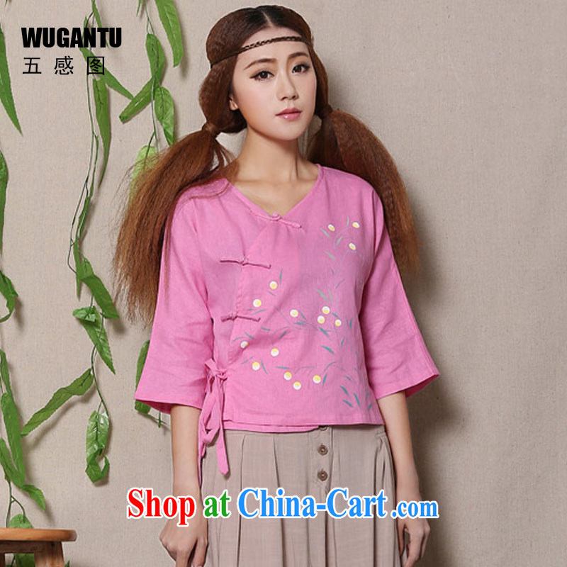 5 AND THE 2015 spring and summer new hand-painted cotton the fresh arts 100 ground Chinese female Chinese T-shirt WGTZ 1136 pink XL