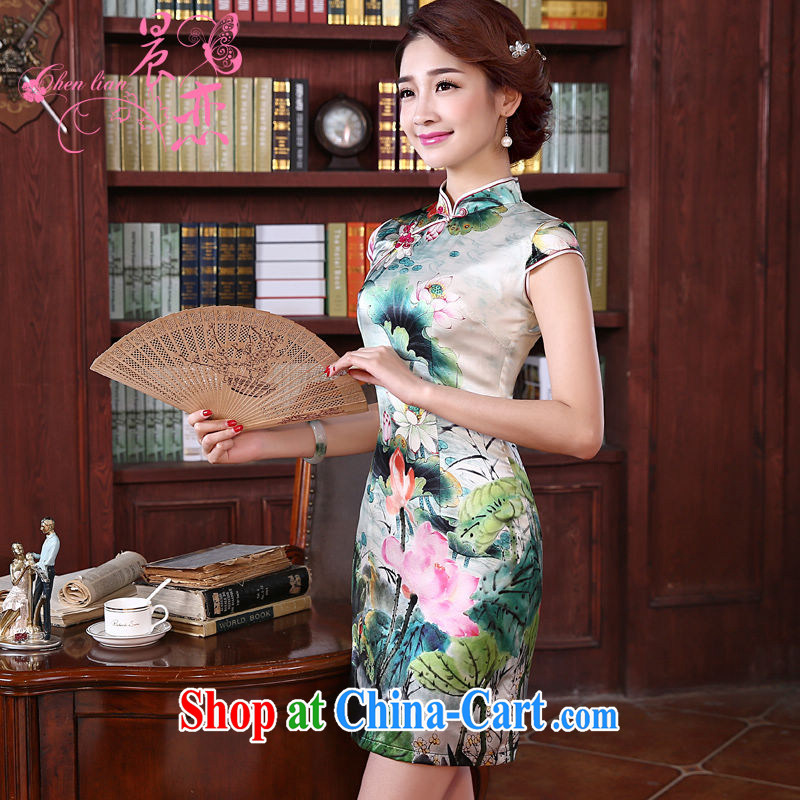 Morning love New 2015 summer retro short improved stylish double sauna silk silk Chinese qipao Ching-lin green XL