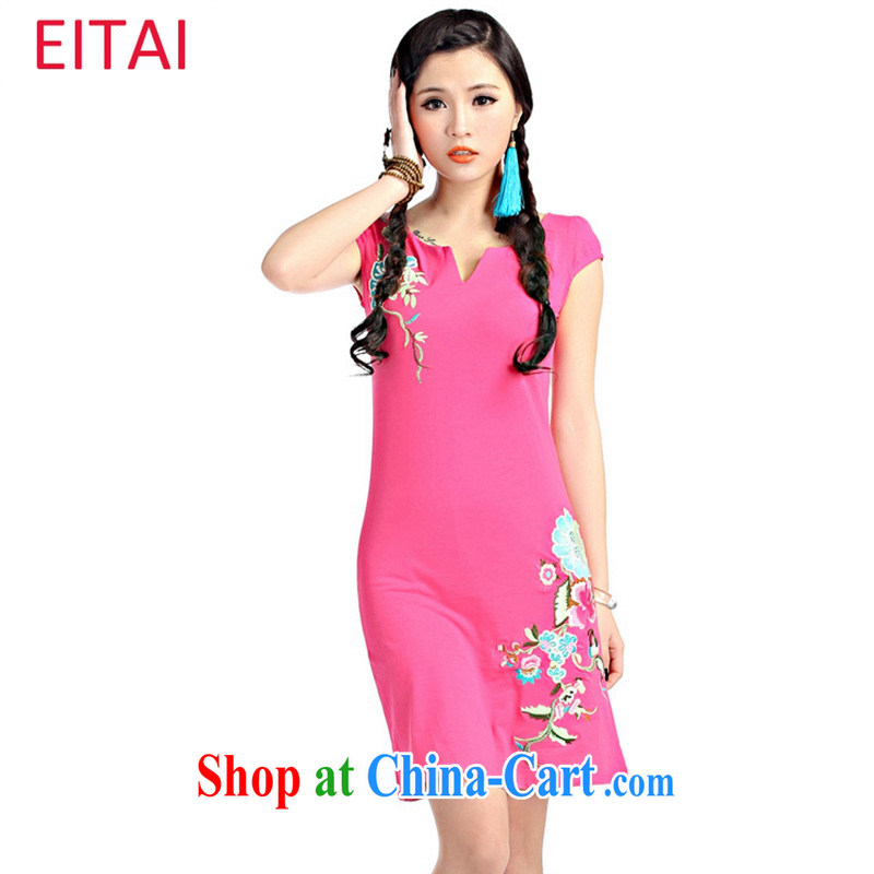 2015 EITAI new summer stylish ladies embroidered V collar National Classic combed cotton dress cheongsam dress red S