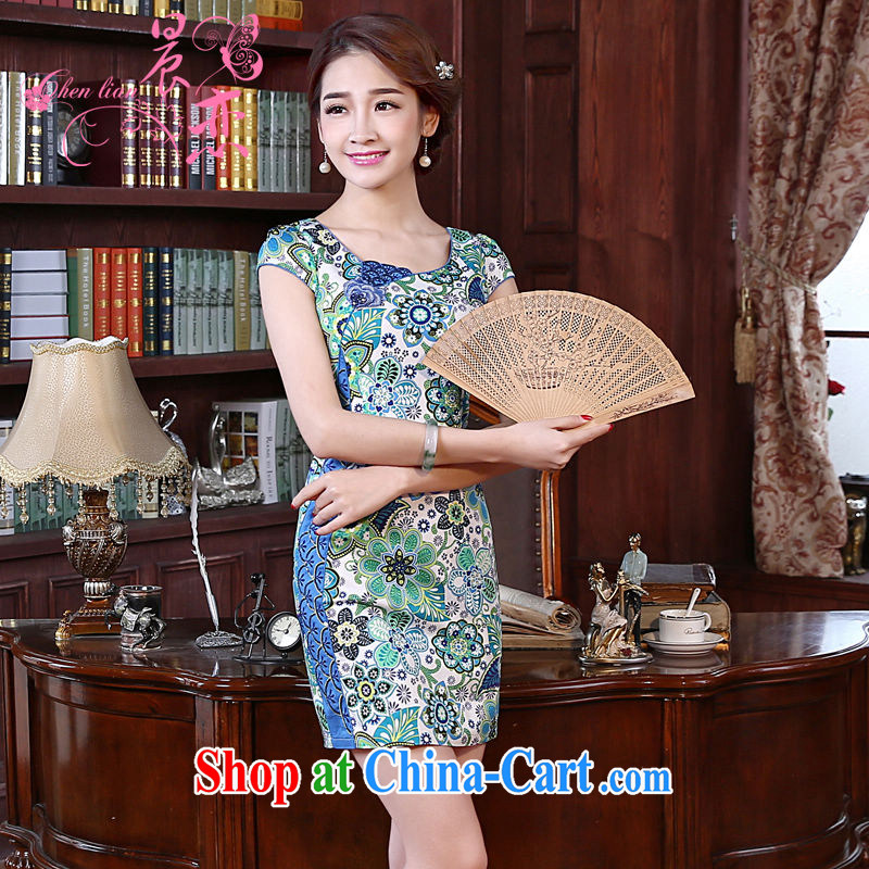 Morning love 2015 summer new improved stylish retro short cotton dresses dresses everyday dresses two-color summer flowers light blue XL