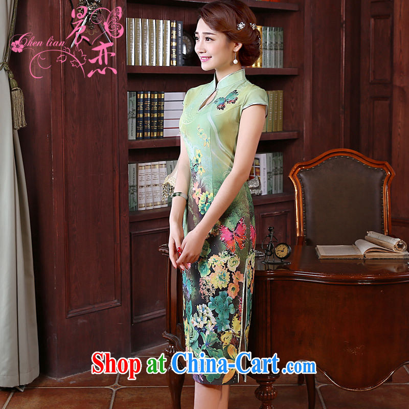 Morning dresses, new summer retro long improved stylish sauna silk silk Chinese qipao dress green butterfly green XXL