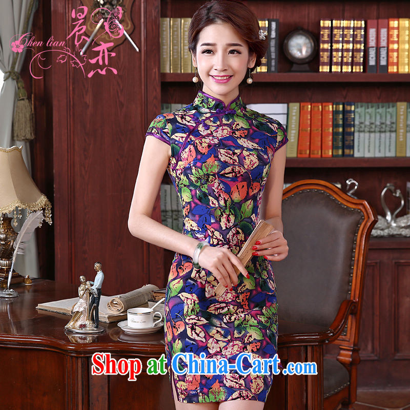 Morning love 2015 summer new stylish improved retro short cheongsam dress Chinese daily cotton Ma dresses purple XXL