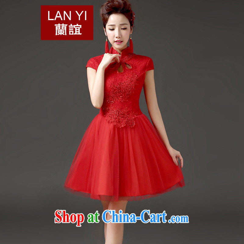 _Quakers, 2015 new bride toast serving short spring and summer beauty, Retro improved marriage wedding dresses Chinese red cheongsam quality assurance.