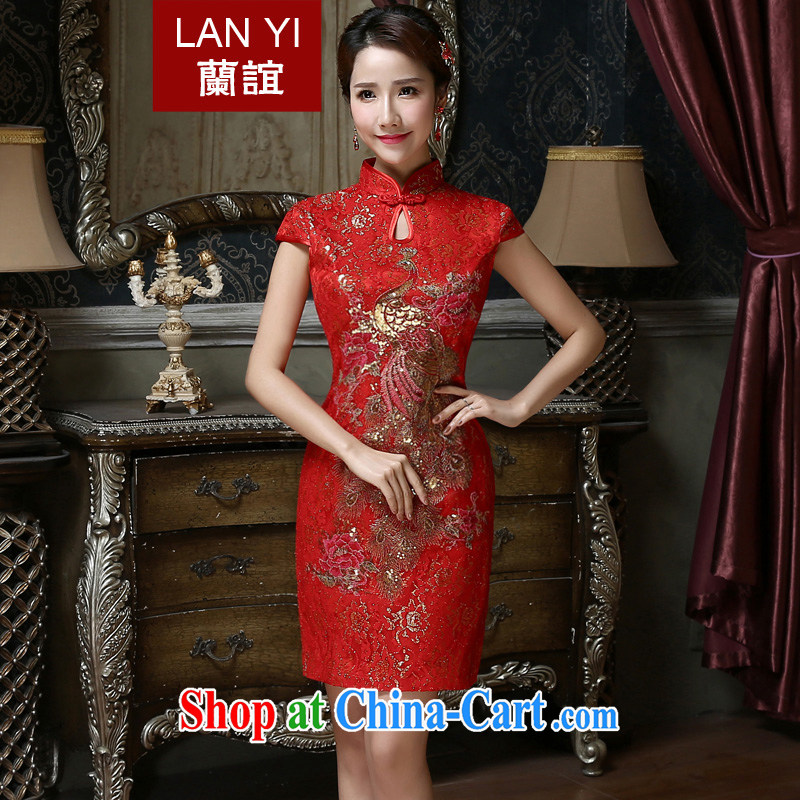 Friends, new 2015 bridal wedding toast clothing retro improved marriage Chinese qipao gown spring and summer short cheongsam dress red M code waist 2 feet