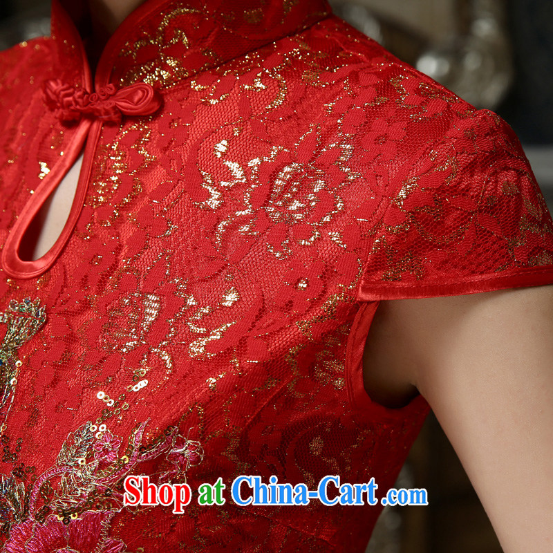 Friends, new 2015 marriages served toast retro improved marriage Chinese qipao gown spring and summer short cheongsam dress red M code waist 2 feet, and friends (LANYI), online shopping